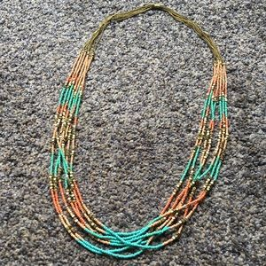 NWOT Gold, Coral, & Turquoise Beaded Necklace